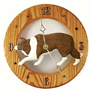 Red Border Collie Wall Clock In Light Oak By