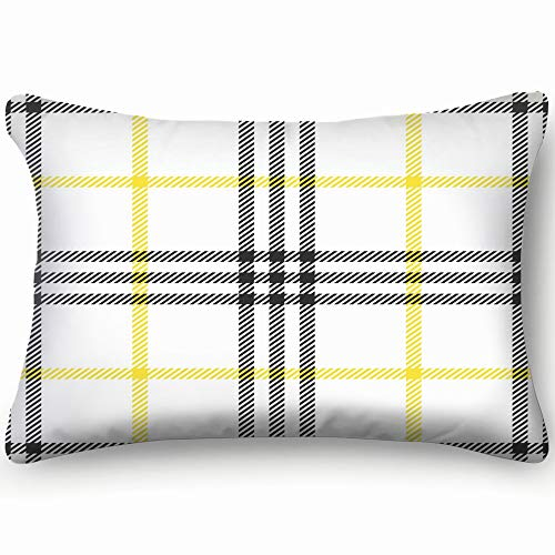 Check Fashion Tweed White Yellow Gray Beauty Fashion Check Beauty Fashion Home Decor Wedding Gift Engagement Present Housewarming Gift Cushion Cover 20x30 inch