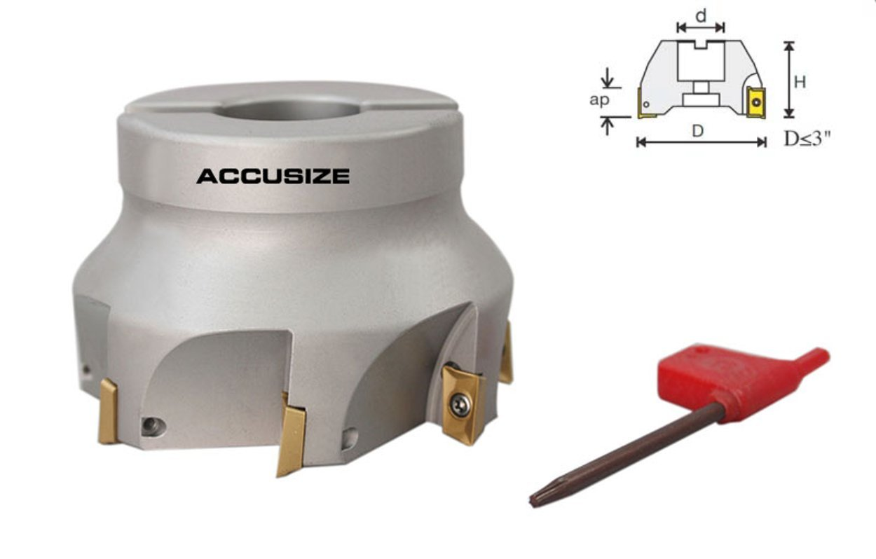 AccusizeTools - 4508-0018, 3'' x 1'' 90 Deg. Square Shoulder Indexable Face Mill with 7 ps APKT1604 Insert installed by Accusize Industrial Tools (Image #1)