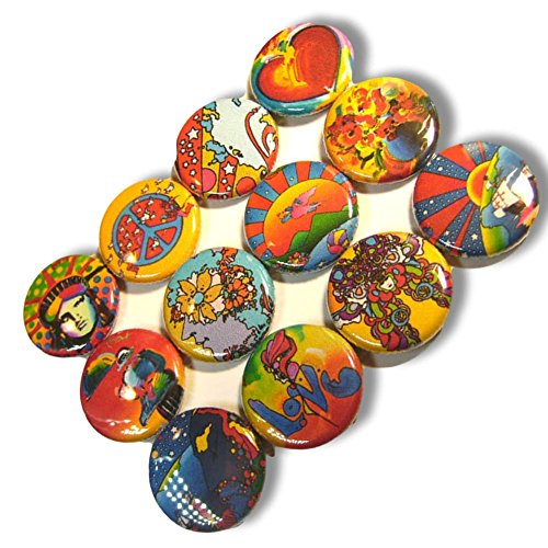 """Custom & Novelty {1"""" Inch} 12 Bulk Pack, Mid-Size Button Pin-Back Badges for Unique Clothing Accents, Made of Rust-Proof Metal w/ Colorful Bright Nature Artist Set Planet Earth Styles [Multicolor]"""