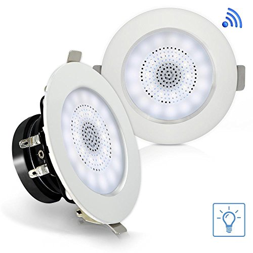 """Pyle 3"""" Pair Bluetooth Flush Mount In-wall In-ceiling 2-Way Home Speaker System Built-in LED Lights Aluminum Housing Spring Loaded Clips Polypropylene Cone & Tweeter Stereo 100 Watts (PDICBTL3F)"""