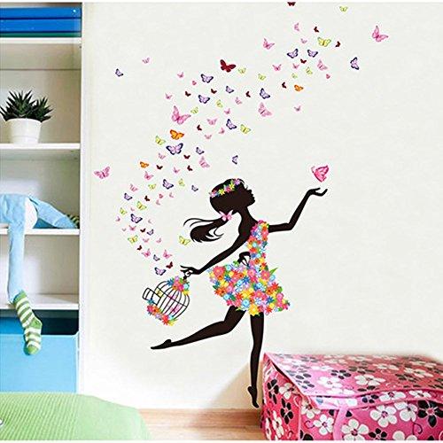 Diy Fairy Dress (Hupplle Removable DIY PVC Wall Sticker Decor Flower Fairy Princess Butterfly Dancing Girls, Sweet Romance Flower Fairy Princess Moon Girl Wall Stickers Sitting Bedroom (princess girl)