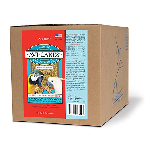 LAFEBER'S Classic Avi-Cakes Pet Bird Food, Made with Non-GMO and Human-Grade Ingredients, for Macaws & Cockatoos, 20 lbs