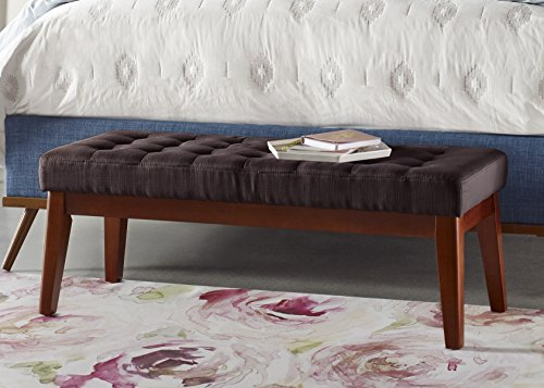 Elle Decor Claire Tufted Bench - Brown (French Two Seat Bench)