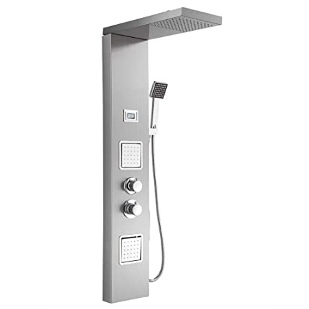 Zoternen Columna de Hidromasaje de Ducha de Lluvia del Grifo con LCD Pantalla para Hogar