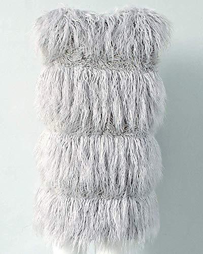 Gris Oudan Fausse En Femmes Taille Sans Manteau Gilet coloré S Foncé Vert Elegante Fourrure Manches Cardigan Longs SHUaqxS