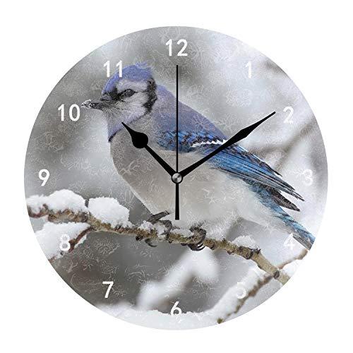 - Kefanlk Animals Birds Blue Jays Snow Wall Clocks Decorative Silent 9.4 in for Living Room Home Decor Wall Art