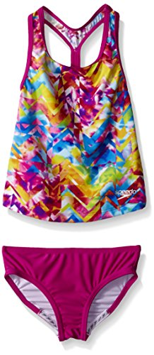 Speedo Big Girls Tie Dye Splash Keyhole Tankini 2 Piece, New Blush, 10