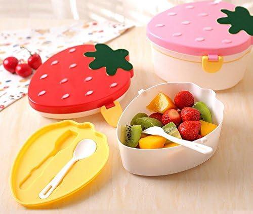 Astra Gourmet juego de 2 plástico forma de fresas Bento/fiambrera/caja de fruta con Tenedor y cuchara, rosa o rojo: Amazon.es: Hogar