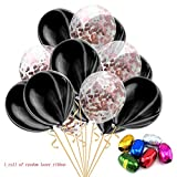 15pcs 12'' Foil Confett Balloons Latex Baby One Year Old Party Balloons Color Set, Quality Latex Balloons for Birthday Wedding Party Home Decoration,Helium Balloons Make Your Event More Colorful (G)