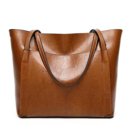 QIN LX Lady Leather Shopping Messenger Purse Top Handle Handbags Women's Shoulder Tote Satchel Bag (brown) by QIN LX (Image #2)