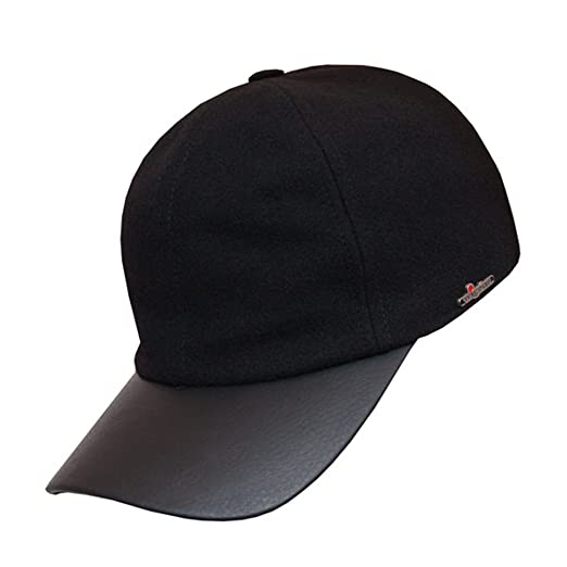 37e4c5d1b09 Wigens Alex Leather Peak Baseball Cap-Black-64 at Amazon Men s ...