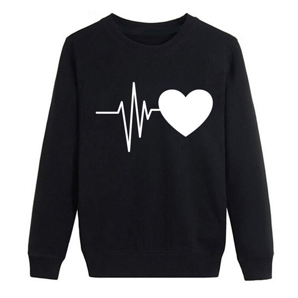Sweatshirts for Women Hoodie Pullover,Women Autumn Long Sleeve Heart Printed Sweatshirt Pullover Casual Blouse Tops,Suiting & Blazers,Black,XL