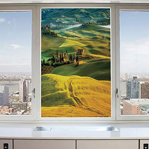 - 3D Decorative Privacy Window Films,Idyllic Landscape of Tuscany Road and Cypresses to Medieval Farmhouse Image,No-Glue Self Static Cling Glass film for Home Bedroom Bathroom Kitchen Office 17.5x36 Inc