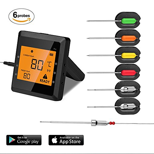6 Probes Wireless Meat Thermometer for Grill, Aidmax Pro03 EasyBBQ, Wireless Digital Cooking Thermometer, Dual Probes Smart BBQ Thermometer for Smoker Oven Meat and Food