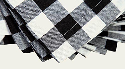 Linen Clubs Pack Of 12 Black -white 100% Cotton Yarn Dyed Gingham Check Dinner Napkins 18x18Inch,Clambake Beach party Nautical Dinner Napkins as well offered by by Linen Clubs (Image #1)