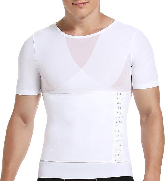 SLIMBELLE® Hombre Camiseta Reductora Ropa Adelgazante Moldeadora con Faja Ajustable para Deportes Fitness Negro Blanco: Amazon.es: Ropa y accesorios
