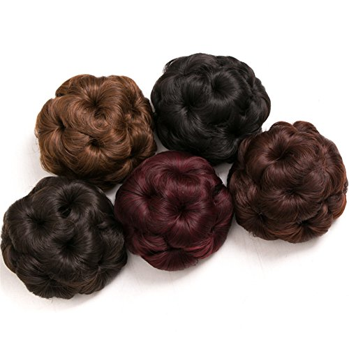 Mtmei Hair Women Curly Chignon Clip in Elastic Fake Hair Bun Updo Hairpiece Extension Accessories Synthetic Hair Style