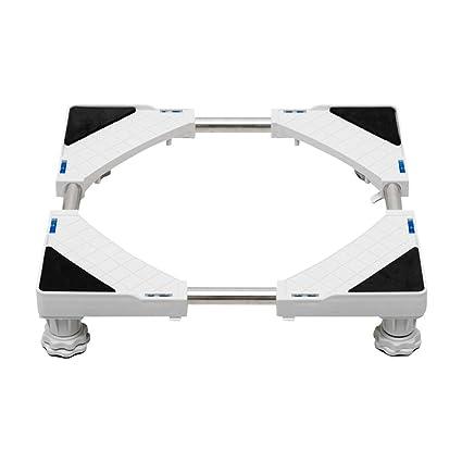 Baoyouni - Soporte para lavadora con base telescópica y 4 ruedas giratorias de goma con bloqueo