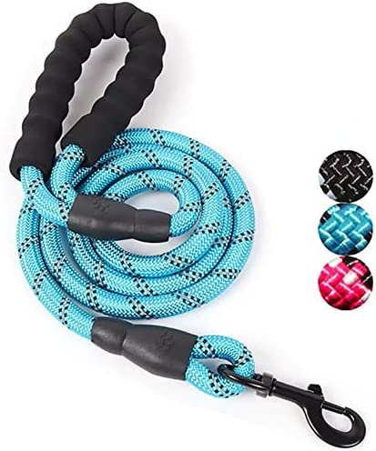 ADOGO® Rope Dog Lead with Soft Padded Handle and Reflective Threads Nylon Durable Dog Leash Safety 5FT Mountain Climbing Rope Twist Dog Lead For Small Medium Large Dogs