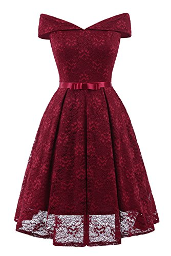 MILANO BRIDE Women's Vintage Lace Overlay Elegant Evening Party Swing Dress with Sash-S-Burgundy