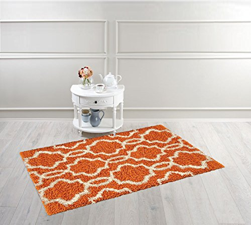 Moroccan Trellis 3'3''x4'7'' Orange & Ivory Shag Area Rug (39