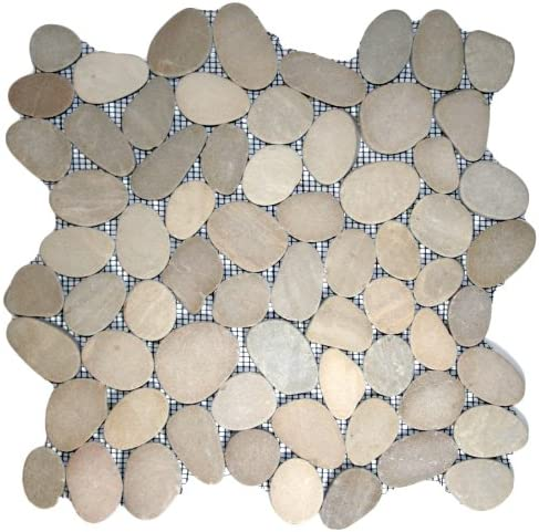 Mesh Mounted Sliced Sea Green Pebble Tile 1 sq.ft.