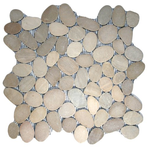 Sliced Java Tan Pebble Tile 1 sq.ft. (Mesh Mounted)