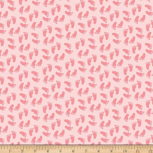 (Riley Blake Designs Penny Rose Sweet Baby Girl Feet Pink, Fabric by the Yard)
