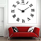 Modern Design Diy 3D Big Wall Clock Home Decor Quartz Horloge Wall Watch Stickers Reloj De Pared Acrylic Mirror Clocks 20 Inch^.Black
