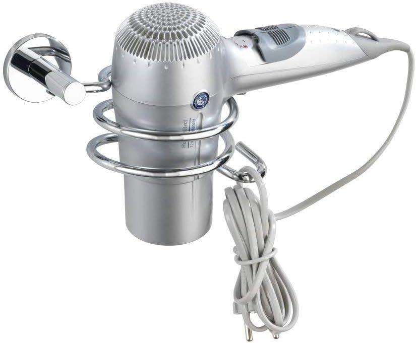 fissaggio senza trapano Cromo Pressogetto di zinco WENKO 17809100 Power-Loc porta asciugacapelli Elegance 18 x 8.5 x 10.5 cm con portacavo