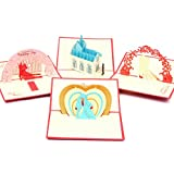 Handmade Wedding 3D Pop Up Greeting Cards for Couples, 4 Assorted Pack for Invitation Card Engagement Valentine's Day, 4-Pack
