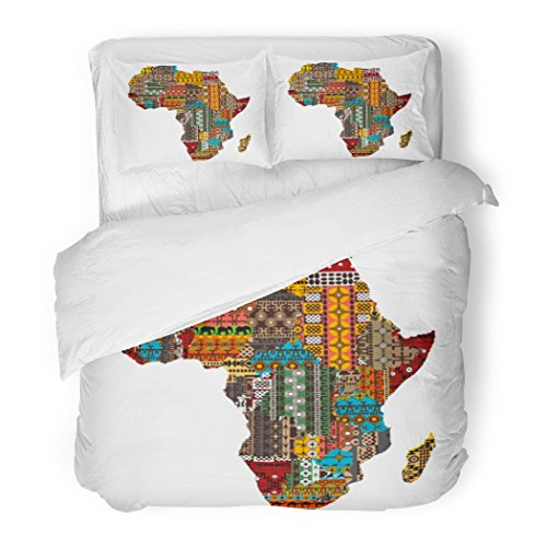 SanChic Duvet Cover Set African Africa Map Countries Made Ethnic Abstract Culture Decorative Bedding Set Pillow Sham Twin Size by SanChic