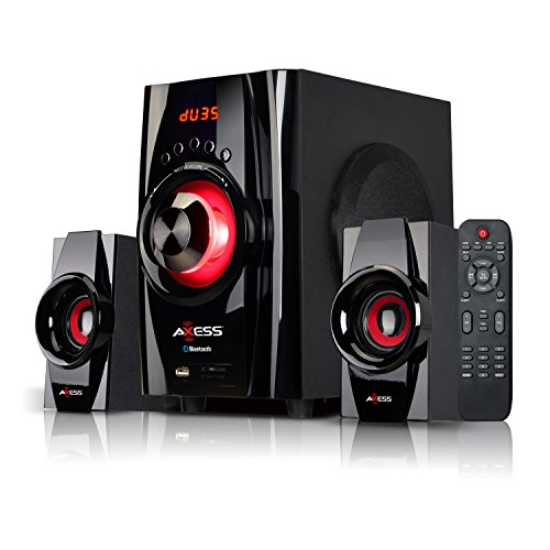 AXESS Bluetooth Mini System 2.1-Channel Home Theater Speaker System Red (MSBT3901RD)