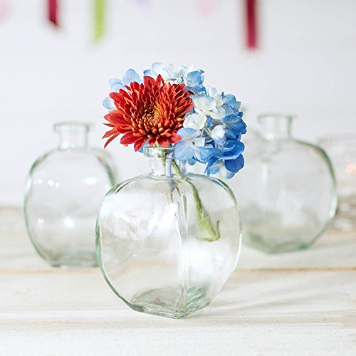 - Glass Bud Vase, Angular Bottle, 3 in. wide x 4.5 in tall, Clear, 12 pk