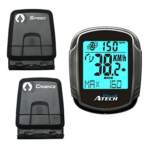ATECH MCX235 Double Wireless Cycle Computer Cyclometer with EL Backlight, Odometer, Cadence, (Double Wireless Cycle Computer)