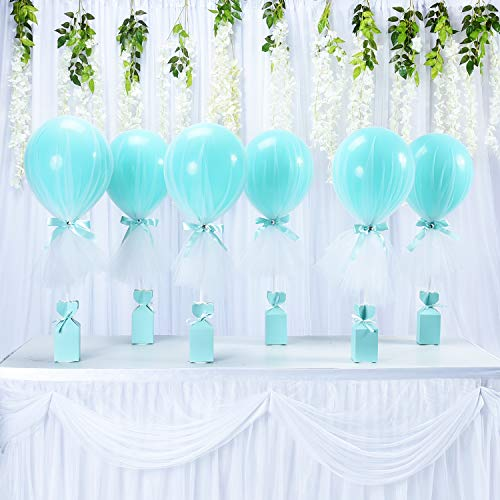 (Tutu-Tulle-Balloons-Tiffany-Blue-Balloons-Party-DIY-Balloon-Table Balloons for Baby Shower Weddings Birthday Princess Party Table Centerpiece Decorations 6 Pack)