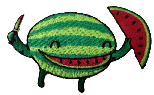 Self Applique - Randy Otter Slice of Happiness Cute Watermelon Cutting Self Patch Applique
