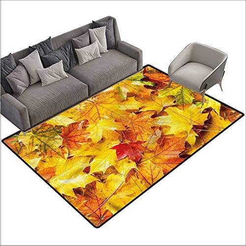 Non-Slip Modern Carpet Fall,Wet Maple Leaves Nature 48