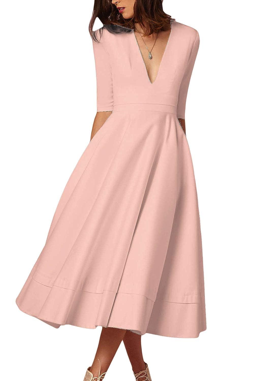 Sopliagon Women Cocktail Dress V Neck Fit and Flare Midi Dresses Plus Size
