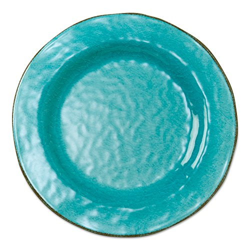 tag - Veranda Melamine Dinner Plate, Durable, BPA-Free and Great for Outdoor or Casual Meals, Ocean Blue (Set Of 4) ()