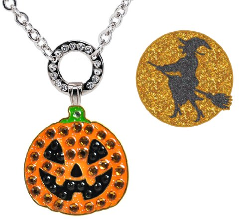 Navika Magnetic Necklace with Swarovski Crystal Jack O'Lantern and Glitzy Witch Ball Markers