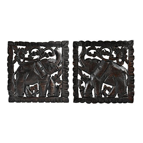 AeraVida Opposing Elephant Panel Set Hand Carved Teak Wood Relief Panel Wall Art
