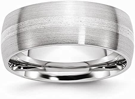 Chisel Cobalt Sterling Silver Inlay Satin 8mm Band