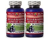 Testosterone booster for men sex - RESVERATROL SUPREME 1200 - Resveratrol vitamins - 2 Bottle 120 Capsules