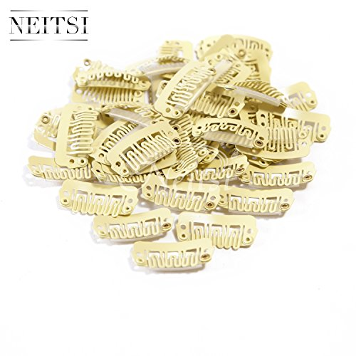 - Neitsi 50pcs U-shape Snap Clips Metal Clips for Hair Extensions DIY Clip-on (2.3cm, Yellow)
