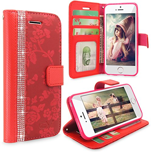 iPhone SE Case, Cellularvilla [Diamond] Embossed Flower Design Premium Pu Leather Wallet Case [Card Slot] Flip Protective Stand Cover For Apple iPhone SE (2016) & iPhone 5S / 5 - (Red Bling)