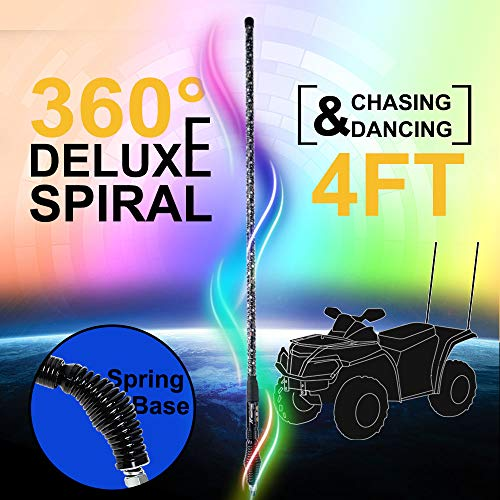 NF NIGHTFIRE 4FT Deluxe 360° Spiral Chasing Dancing LED Whip LED Antenna Light Whips for ATV Safety Flag Light UTV LED Whip for Polaris RZR Sand Dune Buggy Jeep Quad w/Remote Control (47 Inch / 1 pc)