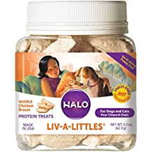 Halo Liv-A-Littles Grain Free Natural Dog Treats & Cat Treats, Freeze Dried Raw Chicken Breast, 2.2-Ounce