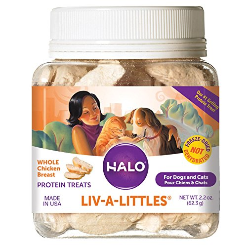Freeze Dried Buffalo - Halo Liv-A-Littles Grain Free Natural Dog Treats & Cat Treats, Freeze Dried Chicken Breast, 2.2-Ounce